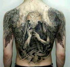 Masked angel back piece, black ink