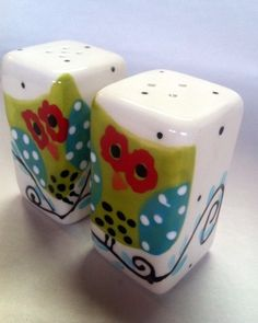 Hoot Owl Salt and Pepper Shakers by Mypolkadotpottery on Etsy, $24.00