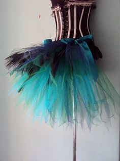 French Navy Blue Teal Peacock Feathers Burlesque Tutu Bustle Belt Size 4 U 6