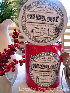 Remember last week when I shared some adventures in homemade caramel corn? Well I wanted to send some out as gifts, so I bagged some up in some cute paint can inspired tins. Then my partner in crim...