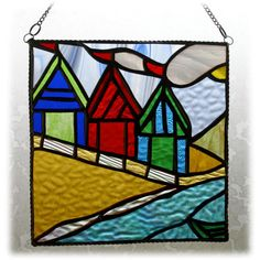 Beach Hut Picture Stained Glass By the Sea Suncatcher Handmade