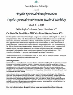 Learn psycho-spiritual interventions through didactic and experiential exercises to help clients transform deep-seated personality blocks. An excellent opportunity for personal and spiritual growth!