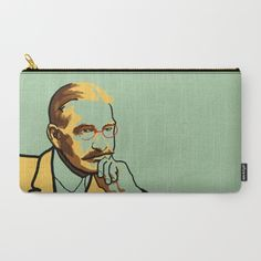 Literature carry-all pouch portrait of L. Frank Baum, author of The Wizard of Oz, in green and yellow.