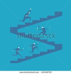 Businessmen climb stairs
