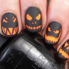 adventuresinacetone's photo on Instagram - Cool Glowing Jack-o-Lanterns Halloween Nail Art