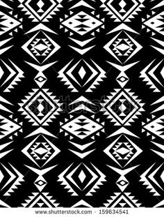 seamless black and white aztec print pattern background