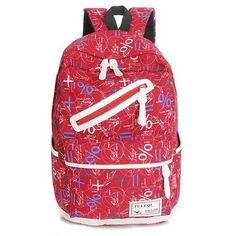 New Letter Print Fashion Design Bucket-Style Top Quality Canvas Backpack 5 Colors
