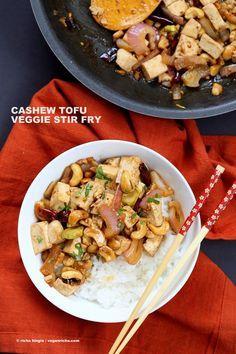 Cashew Tofu Stir Fry. Vegan Cashew Delight Recipe with Tofu and Veggies. Easy One Pot weeknight meal. Serve with rice or grains of choice. VeganRicha.com Vegan gluten-free Recipe