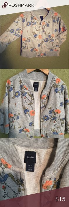 Baby GAP floral sweatshirt/cardigan 12/18 month✌🏽 Hands down my fav sweatshirt for my baby girl. It is still in perfect condition. Open to offers! ❤️✌🏽 GAP Shirts & Tops Sweatshirts & Hoodies