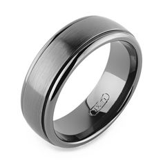 Tungsten Carbide Faceted Square Pyramid Comfort Fit Half-Round Band Ring