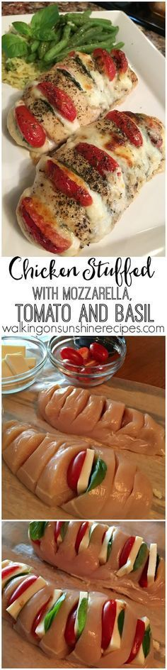 Healthy Hasselback chicken stuffed with mozzarella, tomato and basil is a new way to enjoy chicken for dinner tonight from Walking on Sunshine Recipes.