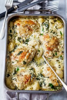 Baked Chicken and Gnocchi With Garlic Asiago Cream Sauce