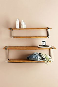 I love this farmhouse shelf set. It would look great in any room.