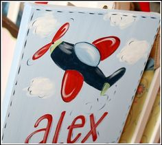 Nursery Art, Airplane Art, Canvas Wall Art, Hand-painted Art for Kids, Custom, Personalized,Art for Boys on Etsy, $29.99