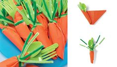 For an easy place setting, wrap utensils in orange napkins and fasten with a green pipe cleaner. | 29 Insanely Easy Ways To Get Ready For Easter