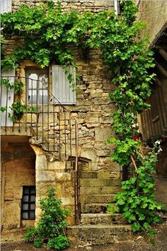 door and steps - Bourgogne, France Beautiful Buildings, Beautiful Places, Rustic Staircase, Garden Stairs, Stair Steps, Arched Windows, French Countryside, Stone Houses, French Country Style