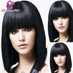 84.48$  Watch now - http://ali1qd.worldwells.pw/go.php?t=32699126534 - Short Black Bob Wigs With Neat Bangs Cheap Sexy Female Wig Short Haircut Bob Full Lace Human Hair Wigs Lace Front Bob wigs
