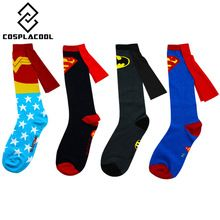 c9e33a594240 1 Pair Men s ⑥ Cotton Cool Superhero Socks With Cloak ③ Superman Batman  Wonder Woman Patterned Long Sock Male Knee High Socks 1 Pair Men s Cotton  Cool ...