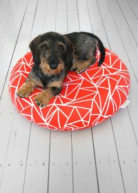- Muovo is a cute new Finnish design company that has come out with a great new dog bed. The Muovo dog bed is brightly colored with a geometric desig. Dog Milk, Dog Collar Tags, Wire Haired Dachshund, Pet Furniture, Pet Beds, Baby Dogs, Little Dogs, Dog Friends, Chihuahua
