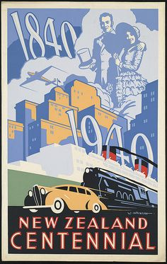 New Zealand Centennial: This poster celebrating New Zealand's 1940 centennial mixes contemporary buildings and vehicles with a man and woman dressed in styles. Illustrated by Leonard Cornwall Mitchell, Fine-art poster printed on museum quality paper. Old Posters, Art Deco Posters, Poster Prints, Art Prints, Surf Posters, Vintage Advertisements, Vintage Ads, Party Vintage, Retro
