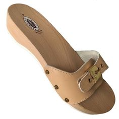 NEW DR SCHOLLS Exercise Sandal Original Slide Wood Clog Leather Flip Flop Tan 7 #DrScholls #Slides #Casual Dr Scholls Sandals, Wooden Clogs, Clog Sandals, Leather Flip Flops, Leather Clogs, Exercise, The Originals, Casual, Shoes