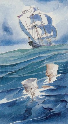 2 of Cups - Tarot of the Renaissance Two Of Cups, Hermetic Tarot, Renaissance, Tarot Decks, Tarot Cards, Sailing Ships, Two By Two, Playing Card, Watercolours