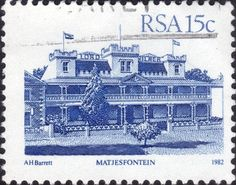 Picture of RSA - CIRCA A stamp printed in Republic of South Africa shows Matjesfontein - Lord Milner Hotel, circa 1982 stock photo, images and stock photography. Stamp Printing, Postage Stamps, South Africa, Landscape Photography, African, Stock Photos, Creative, Prints, Eagles
