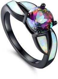 Peermont Black Rhodium White Opal & Mystic Topaz Ring.