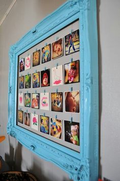 Picture frame, string , clothes pins. Cute