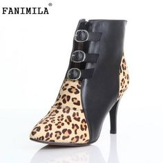 Women Ankle Boots Natural Real Leather Luxury Pointed Toe Sexy High Heels  Wild Leopard Zip Fashion 5adfd17cc3d5