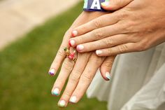 Harley Viera-Newton's awesome rainbow tips and Juicy Couture ring. Photo by Mark Iantosca.