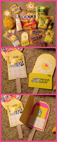 "Box of Sunshine ~ Sent to my Bestie :) Items included: 2 packs of Gum, Dots, Charleston Chew, Kool-Aid, Lemon Hand Soap, Funyuns, Lemon Heads, Starbursts, Bath Scrubbie, M&Ms, Snickers, lip balm, nail polish, vanilla Oreos, sucker & Subway gift card. Added paper suns, yellow shreds and a cutout ""Hello, Sunshine!"" to the box. Wrapped box in yellow gift wrap, added suns and mailed it! :)"