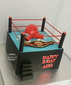 Ring Boxe, Birthday Party Themes, Birthday Cakes, Boxing Gloves Cake, Cakes And More, Fondant, Birthdays, David, Gray