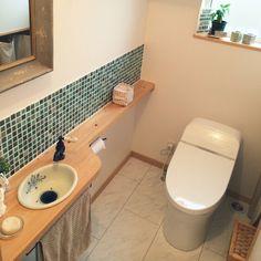 バス/トイレ/セリア/モザイクタイル/トイレ/造作洗面台/ミラー…などのインテリア実例 - 2016-03-07 14:38:05 | RoomClip(ルームクリップ) Bathroom Vanity Designs, Toilet, Sink, Interior, House, Home Decor, Board, Ideas, Bathrooms