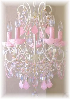 LS-1325 ? 5-Light Beaded Chandelier with Opal Pink Crystals