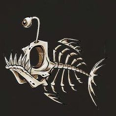 angler fish skeleton- something like this, in large scale for halloween door decor! Tattoo Oriental, Desenho New School, Arte Viking, Fish Skeleton, Tatoo Art, Art Tattoos, Image Digital, Deep Sea Fishing, Fish Art