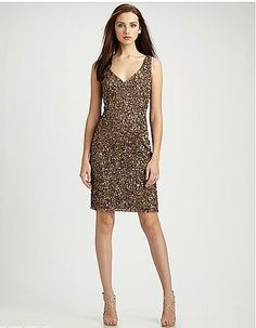 Gold / Bronze color Theia Sequin Dress!! Nellies_Girl on eBay $78.95   Cant be beat!! New Dress!!