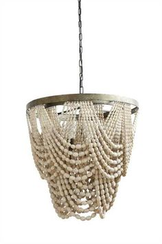 """Why We Love It Metal & Wood Bead Chandelier with 3 Lights More InformationDimensions: 25-1/2"""" Round x 26""""H6' Chain & 10' Cord(25 Watt Bulb Maximum, UL L"""