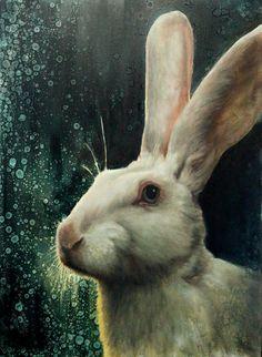 Witte Belgische haas / olieverfschilderij / 2014/ Nanouk Weijnen
