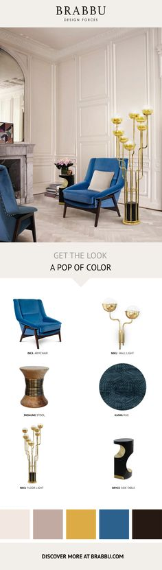 Get The Look   A Pop Of Color   Living Room Ideas by #BRABBU #livingroomdesign #interiordesign #homedecor Discover more inspiration: https://www.brabbu.com/moodboards/