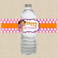 INSTANT DOWNLOAD - Printable DIY Dora the Explorer Inspired Water Bottle, Napkin Ring, Wrap, Wrapper