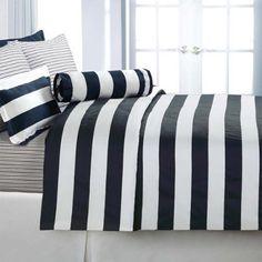 Echelon Home Cabana Stripe Full/Queen Duvet Cover Set, Navy guest room? King Duvet Cover Sets, White Duvet Covers, Duvet Sets, Comforter Set, Cabana, Navy Blue Bedrooms, White Bedding, White Linens, Striped Bedding