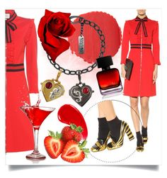 """""""Red love"""" by ledile ❤ liked on Polyvore featuring Gucci, Burberry, The Collection by Phuong Dang, charms, ledile and charmsbracelets"""