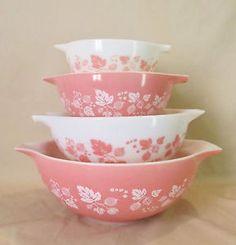 Vtg 4 Gooseberry Flamingo Pink Cinderella Pyrex Nesting Mixing Bowls 441 444   eBay  $199.95