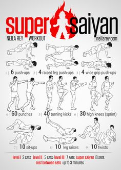 Super Saiyan Workout / works: shoulders, triceps, core, lower back, glutes, chest, quads, front hip flexors, calves, lower bas, abs, later abs