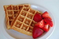 Coconut Waffles from Eat, Drink and Shrink  2 eggs 1 tsp. baking powder 1/4 c. almond flour 1/4 c. coconut flour 1/2 c. brown rice flour 1/2 can of coconut milk and then add as much water as you need to create the consistency you want for your griddle.  Top with plain greek yogurt and 100% maple syrup. Fresh fruit is also delicious as well! YUM!!  Get more fat-burning recipes at http://www.eatdrinkshrinkplan.com/recipes/