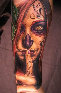 Tattoo by Andy Engel, I want a Day of the Dead tattoo so bad
