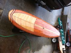 Gary's custom SUP..stand up paddle board. Made in our garage