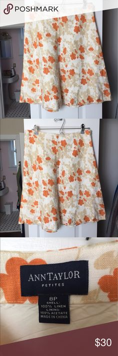 Linen skirt From Ann Taylor- fun floral summer print! Only worn once! Ann Taylor Skirts A-Line or Full