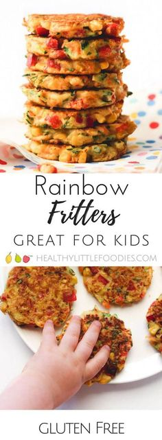 These rainbow fritters are a perfect finger food for kids and are great for blw (baby-led weaning) Packed with veggies for nutrients and made with chick pea flour for extra protein. via cooking healthy with kids clean eating Finger Foods For Kids, Finger Fun, Baby Finger Foods, Healthy Snacks, Healthy Eating, Healthy Recipes For Kids, Healthy Finger Foods, Gluten Free Recipes For Kids, Veggie Recipes For Babies